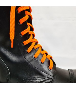 """Шнурки для кроссовок и кед """"Кислотно-оранжевые плоские 8 мм - 1.5 м"""""""